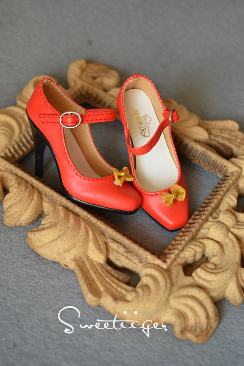1/3 BJD shoes elegant red queen heels