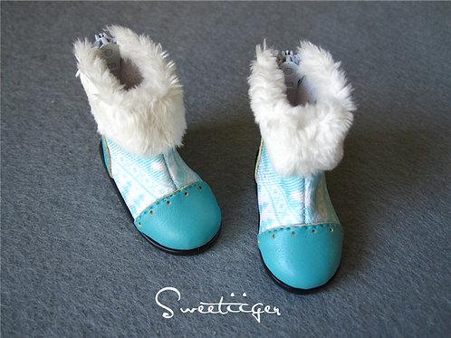 1/6 BJD blue fur snow boots