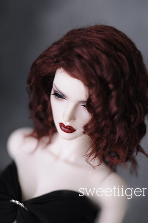 "Manmade-Mohair 6-7"" 7-8"" 8-9"" Doll wig [wine rolls]"
