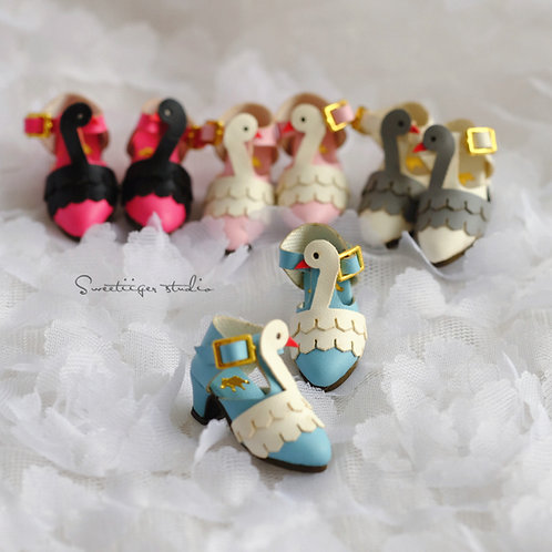 "12""Blythe/Pullip/mmk/JerryB shoes [cute swans]"