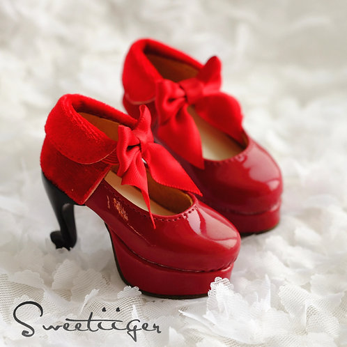 1/3 BJD shoes special heels Red velvet shoes