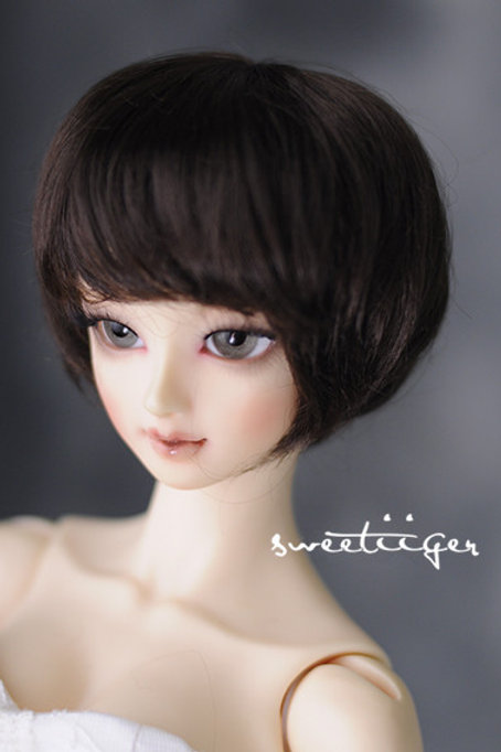 "Manmade-Mohair 8-9"" Doll wig [Nature brown Bob]"