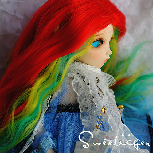 """Fantasy line 6-7.5"""" BJD Doll wig-rainbow"""