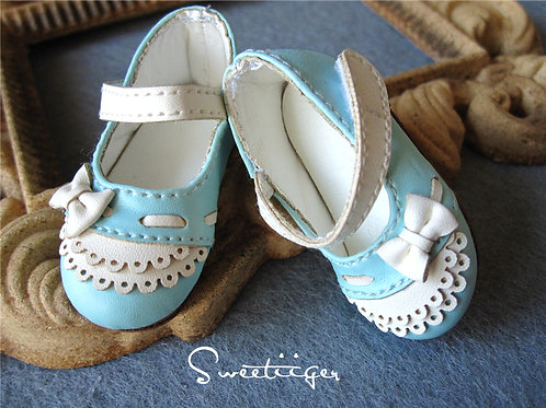 1/6 BJD leather carved double lace shoes