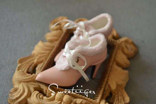 1/3 BJD shoes ribbon fur Ankle heels boots