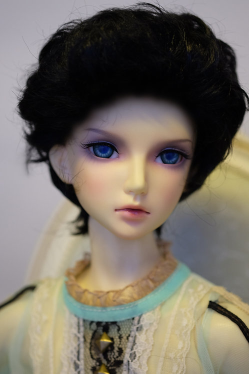 """Manmade-Mohair 8-9"""" Doll wig [ Black Slicked-back]"""