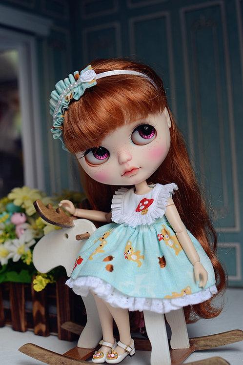 Blythe Pullip Embroidery mushroom dress + hairband 2 set