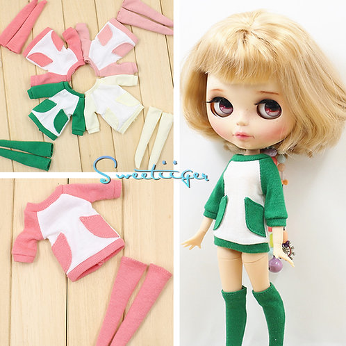 Blythe/Pullip outfit casual one piece and Thigh socks 4 colors available