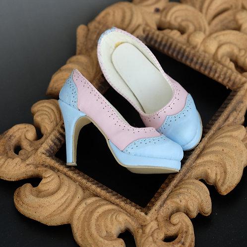 1/3 BJD shoes lolita pink & blue matte sweet heart high heels