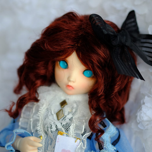 """Manmade-Mohair 6-7"""" 7-8"""" 8-9"""" Doll wig [wine rolls]"""