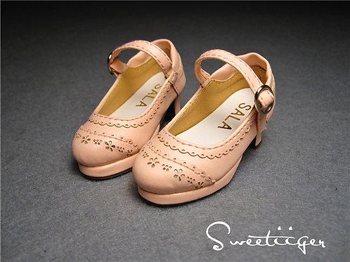 1/4 BJD elegant peach pink bow Lolita shoes