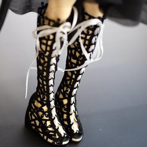 1/3 BJD shoes matte lace lolita classic high heels boots