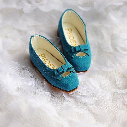 1/6 BJD shoes Peacock Blue matte leather shoes