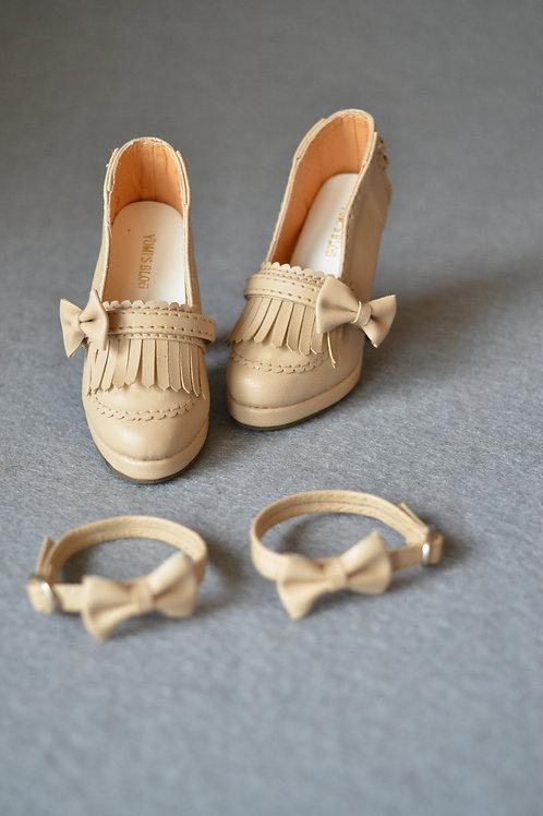 1/3 BJD shoes elegant nude tassel Oxford high heel