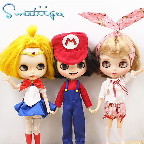 Blythe/Pullip outfit summer Sailor Moon/Super Mario 3 styles available