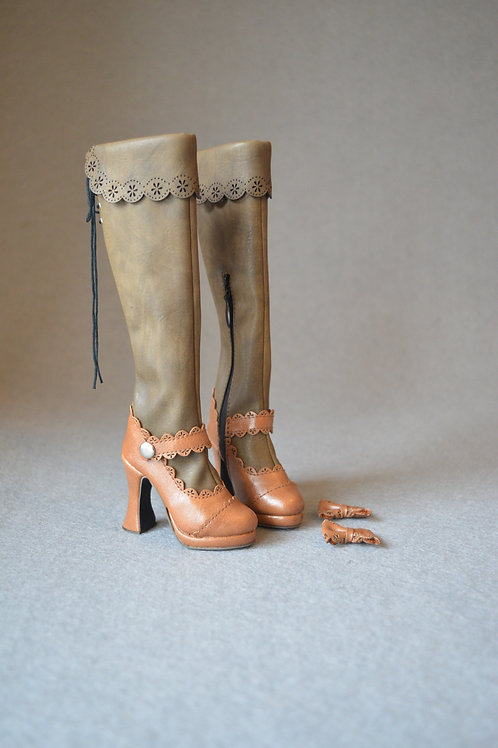 1/3 BJD shoes carved lace heels knee boots