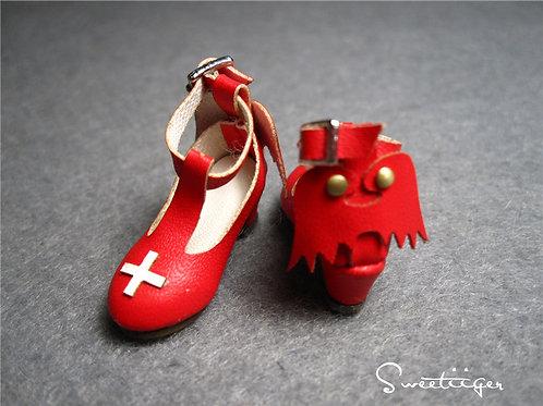"12""Blythe/Pullip/mmk/JerryB shoes red devil heels"