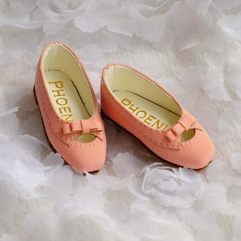 1/6 BJD shoes peach pink matte leather shoes