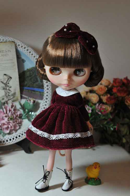 Blythe/Pullip sweet royal red velvet dress 2 sets