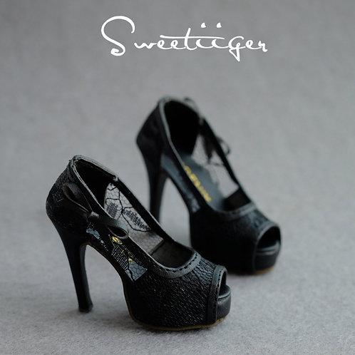 1/3 BJD shoes black transparent lace high heels