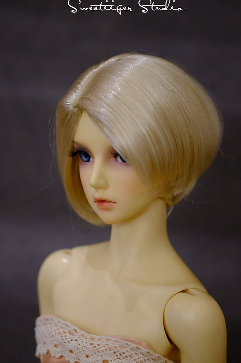 "Manmade-Mohair 6-7"" 7-8"" 8-9"" Doll wig [blonde short cut]"