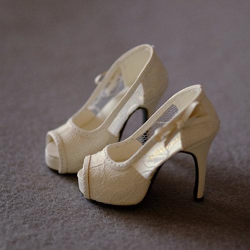 1/3 BJD shoes white transparent lace high heels