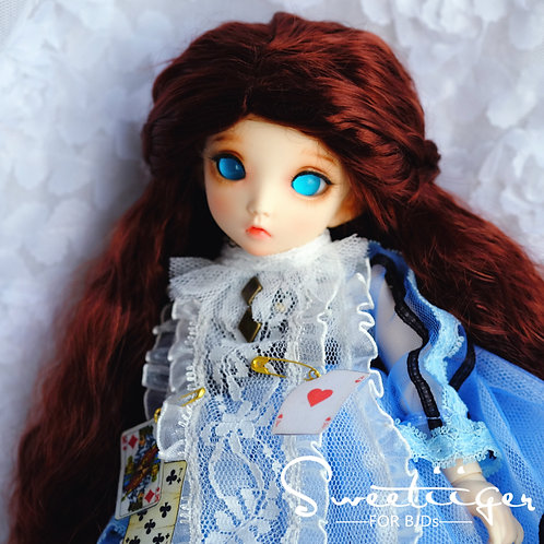 "Manmade-Mohair 6-7"" 7-8"" 8-9"" Doll wig [wine wave]"