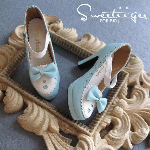 1/3 BJD shoes lolita baby blue sweet heart high heels