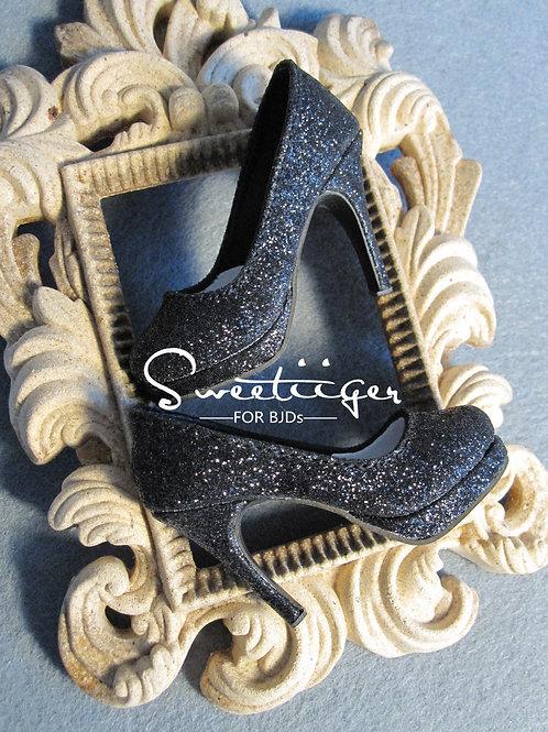 1/3 BJD shoes classic black sparkle high heels