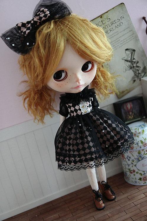 Blythe/Pullip poker queen black lace dress 2 sets