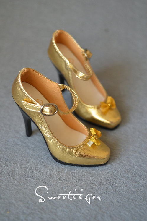 1/3 BJD shoes elegant gold queen heels