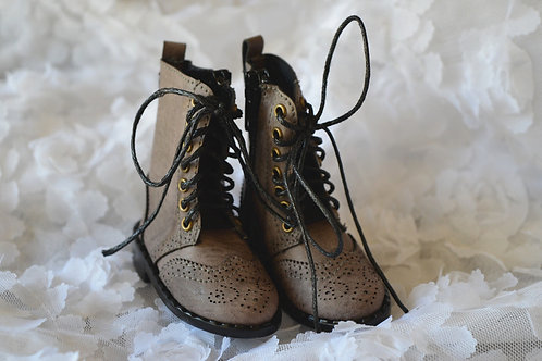 1/4 BJD MSD shoes grey carved Oxford boots