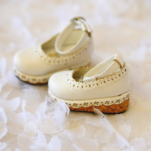 1/6 BJD shoes ivory lace thick lolita shoes