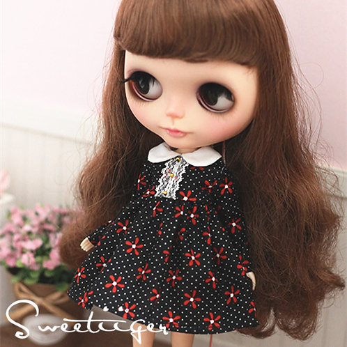 Blythe/Pullip Polka Dot flower dress