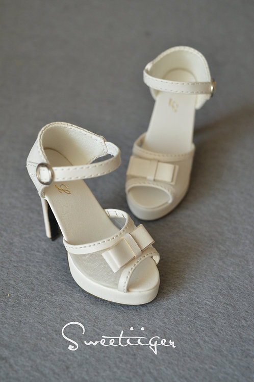1/3 BJD shoes white lace toe high-heeled sandals