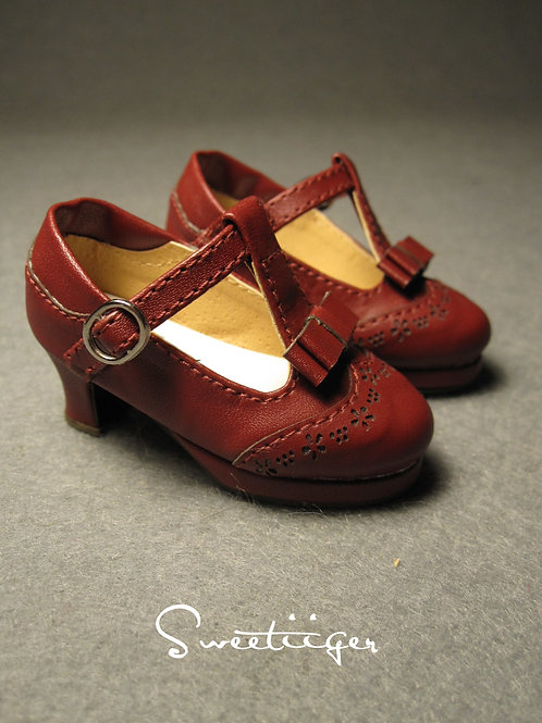 1/4 BJD elegant wine bow shoes