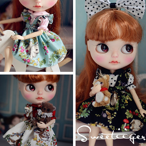 Blythe Pullip Embroidery sweet rabbit dress + shirt +hairband 3 set