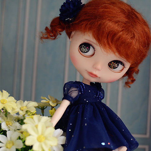 Blythe Pullip Embroidery lace stars dress + hairband 2 set