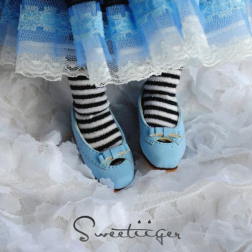 1/6 BJD shoes blue matte leather shoes