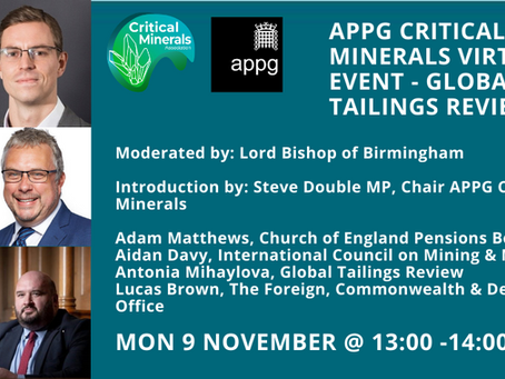 APPG Critical Minerals Event - Global Industry Standard on Tailings Management