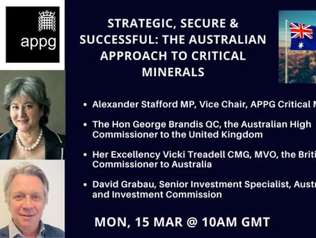 APPG Critical Minerals: Australia-UK Critical Minerals Strategy