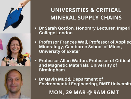 Breakfast chat: 'The Role of Universities in the Critical Minerals Supply Chain'