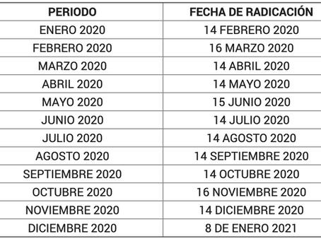 Fechas de Radicación para el año 2020: Periodo Electoral