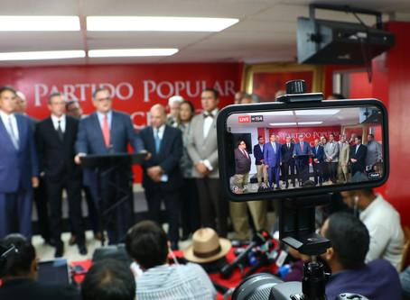 Expresiones autorizadas del presidente del Partido Popular Democrático, Aníbal José Torres, ante la