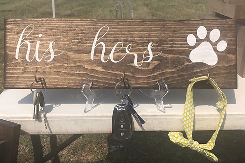 His. Hers. Dog. Key & Leash Holder Sign