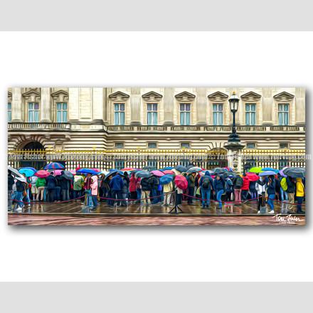 Rain at Buckingham Palace