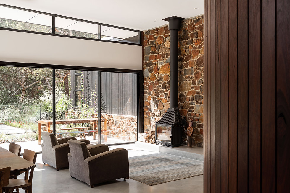 Nyaania Creek Darlington Residence - North facing open plan living with stacking sliding doors