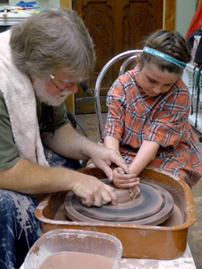 throwing on potters wheel