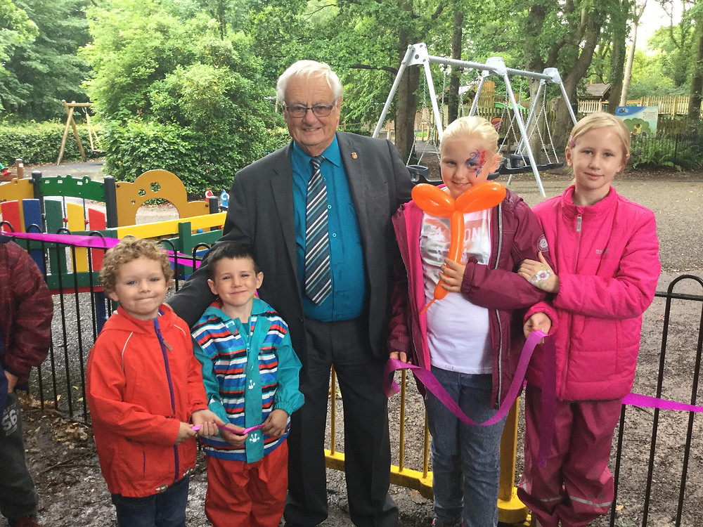 Councillor Peter Edgar opening the new play area at Royal Victoria Country Park