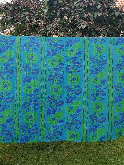 Linnen gordijn blauw-groen